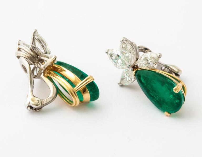 Contemporary Gubelin Certified Colombian Emerald Diamond Earrings For Sale