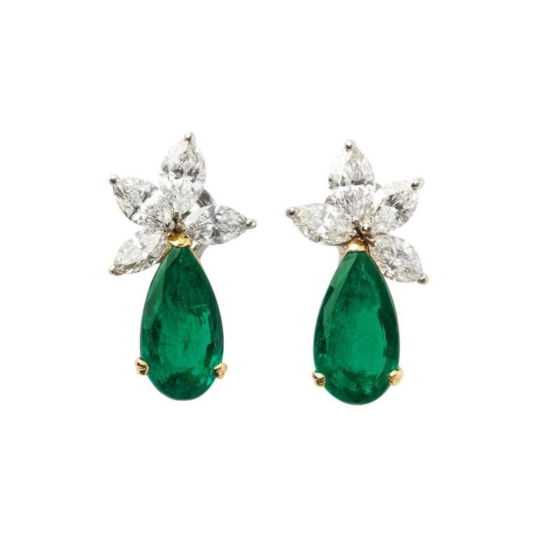 Gubelin Certified Colombian Emerald Diamond Earrings For Sale