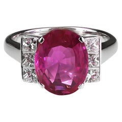Gubelin Certified Natural Burma/Myanmar Pink Sapphire 4.5 Carat and Diamond Ring