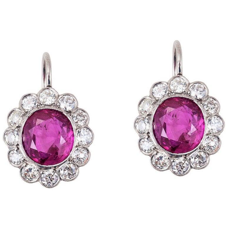 Gubelin Certified No-Heat 6.52 CT Burma Ruby Diamond Platinum Edwardian Earrings