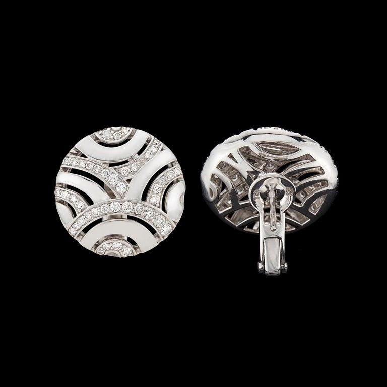 Women's Gubelin Diamond and 18 Karat White Gold Earrings For Sale