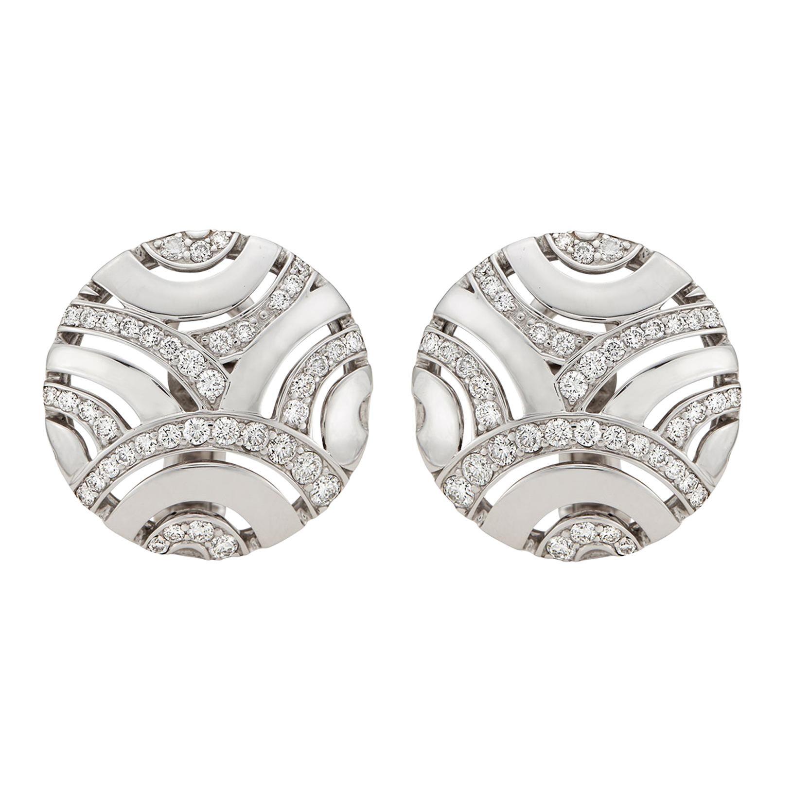 Gubelin Diamond and 18 Karat White Gold Earrings