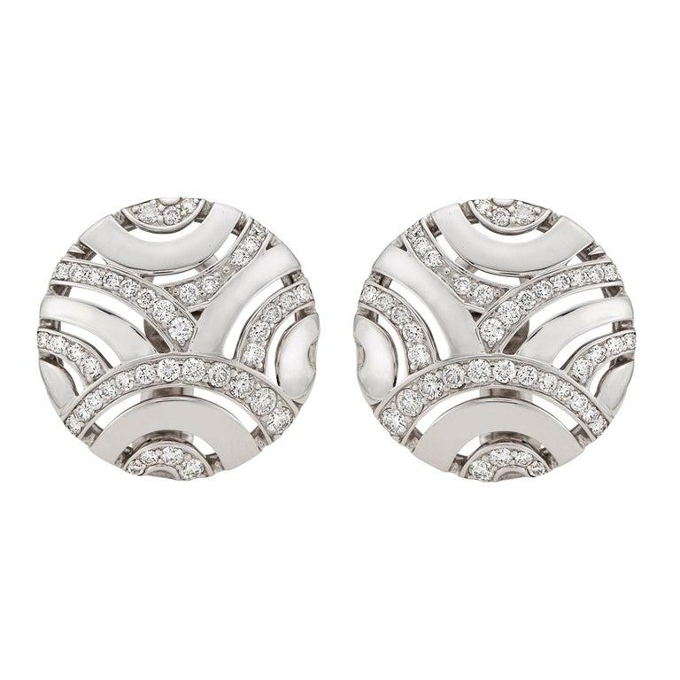 Gubelin Diamond and 18 Karat White Gold Earrings For Sale