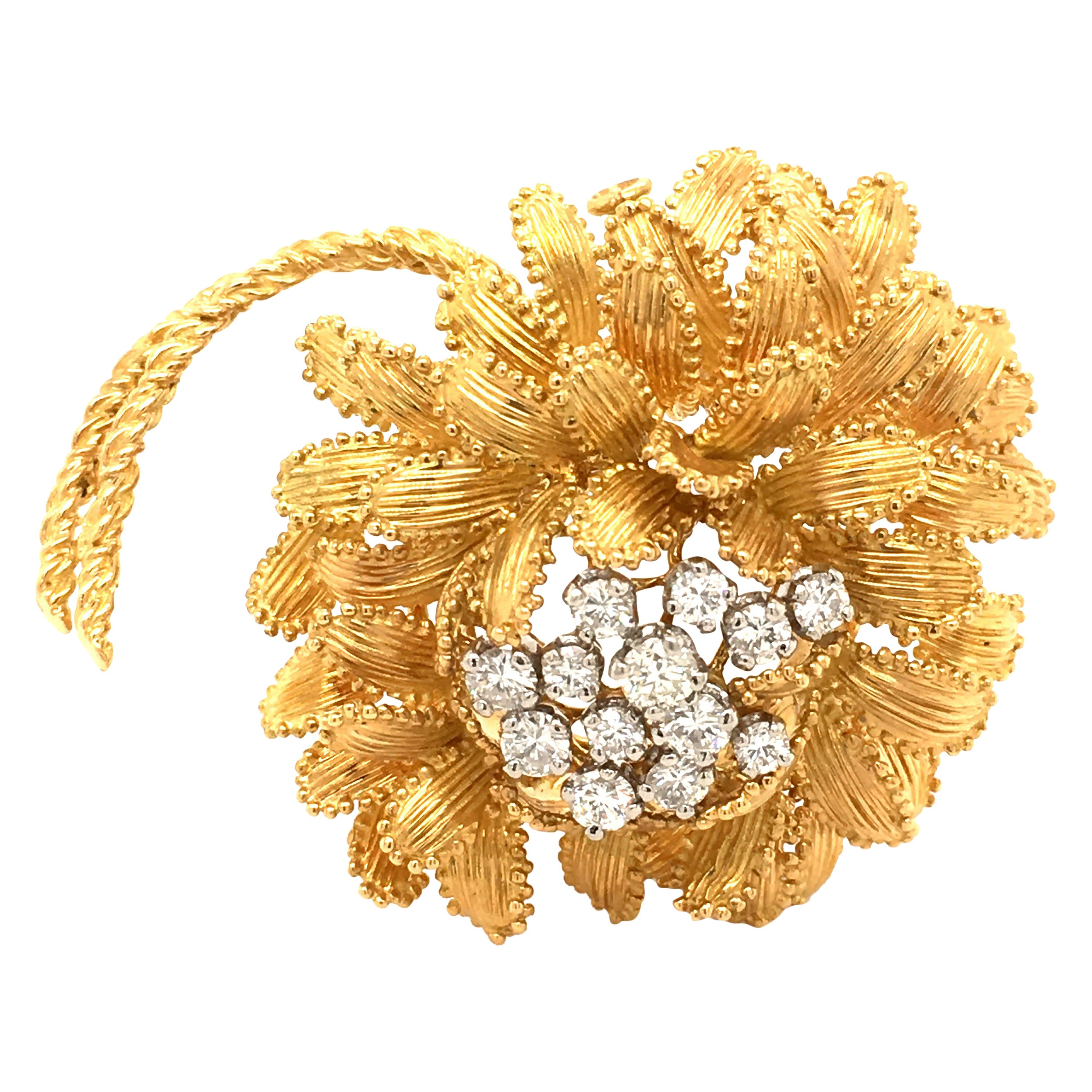 Gubelin Diamond Brooch in 18 Karat Yellow and White Gold