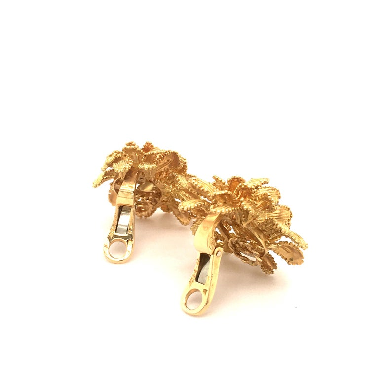 Gubelin Diamond Earclips in 18 Karat Yellow and White Gold For Sale 5