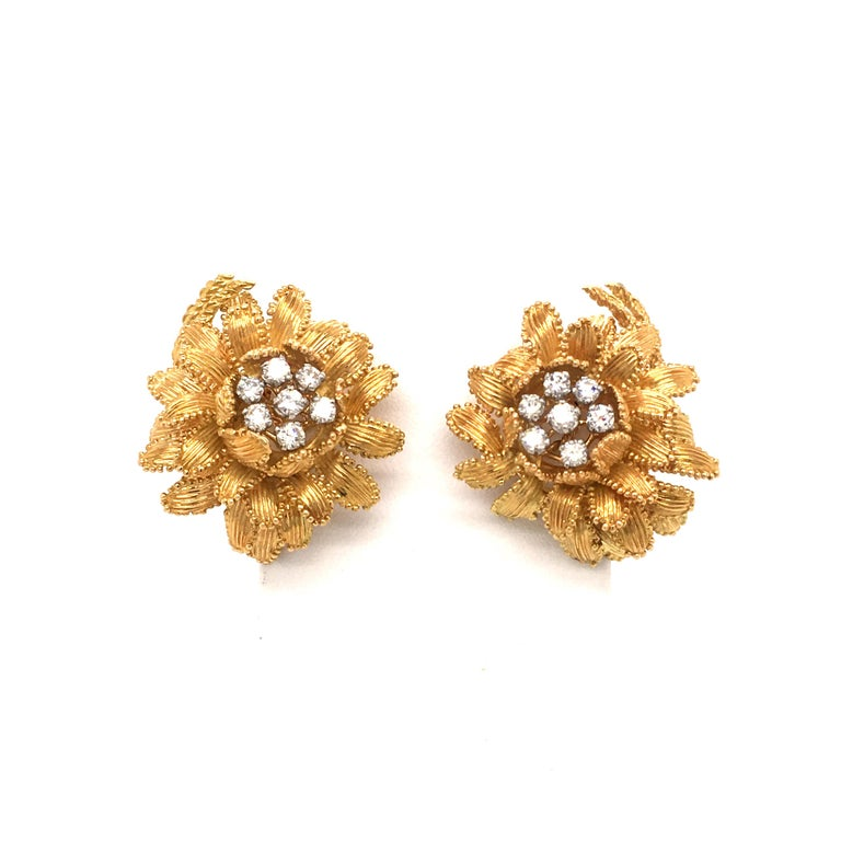 Modern Gubelin Diamond Earclips in 18 Karat Yellow and White Gold For Sale
