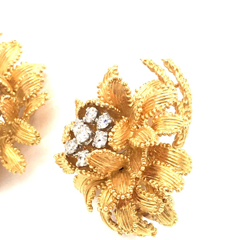 Round Cut Gubelin Diamond Earclips in 18 Karat Yellow and White Gold For Sale