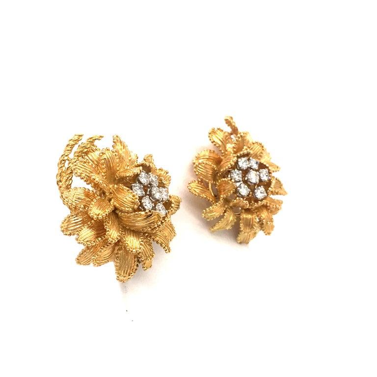 Women's or Men's Gubelin Diamond Earclips in 18 Karat Yellow and White Gold For Sale