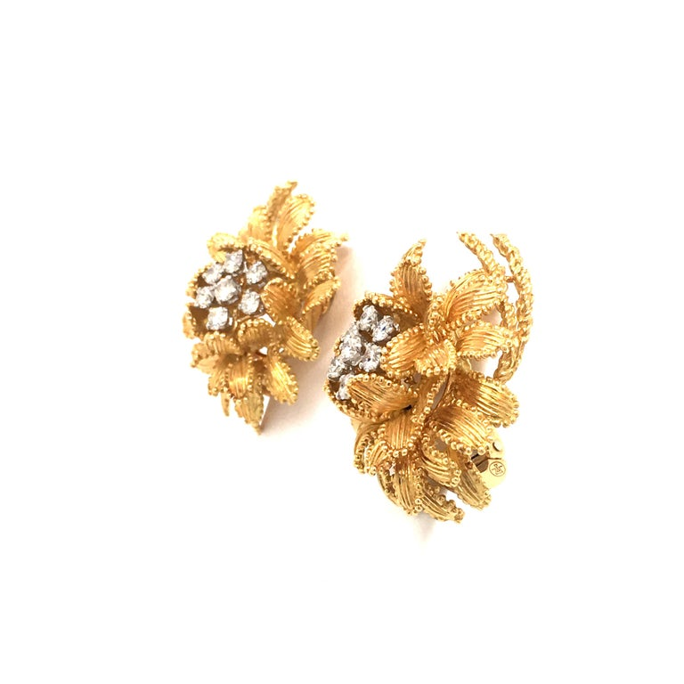 Gubelin Diamond Earclips in 18 Karat Yellow and White Gold For Sale 1