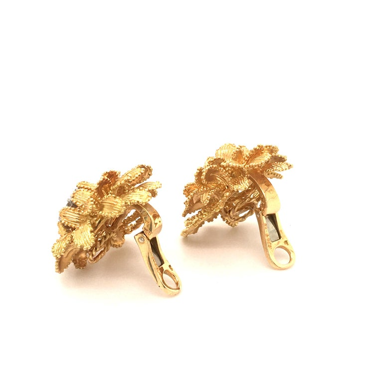 Gubelin Diamond Earclips in 18 Karat Yellow and White Gold For Sale 2