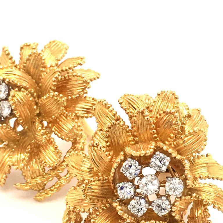 Gubelin Diamond Earclips in 18 Karat Yellow and White Gold For Sale 3