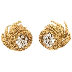 Gubelin Diamond Earclips in 18 Karat Yellow and White Gold