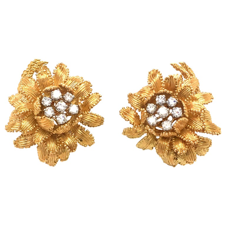 Gubelin Diamond Earclips in 18 Karat Yellow and White Gold For Sale