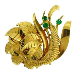 Gubelin Emerald Yellow Gold Watch Brooch Pin Clip, circa 1940s