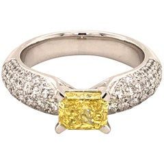 Gubelin Fancy Vivid Yellow Diamond White Gold Ring