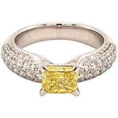 Gubelin Fancy Vivid Yellow Diamond White Gold Ring