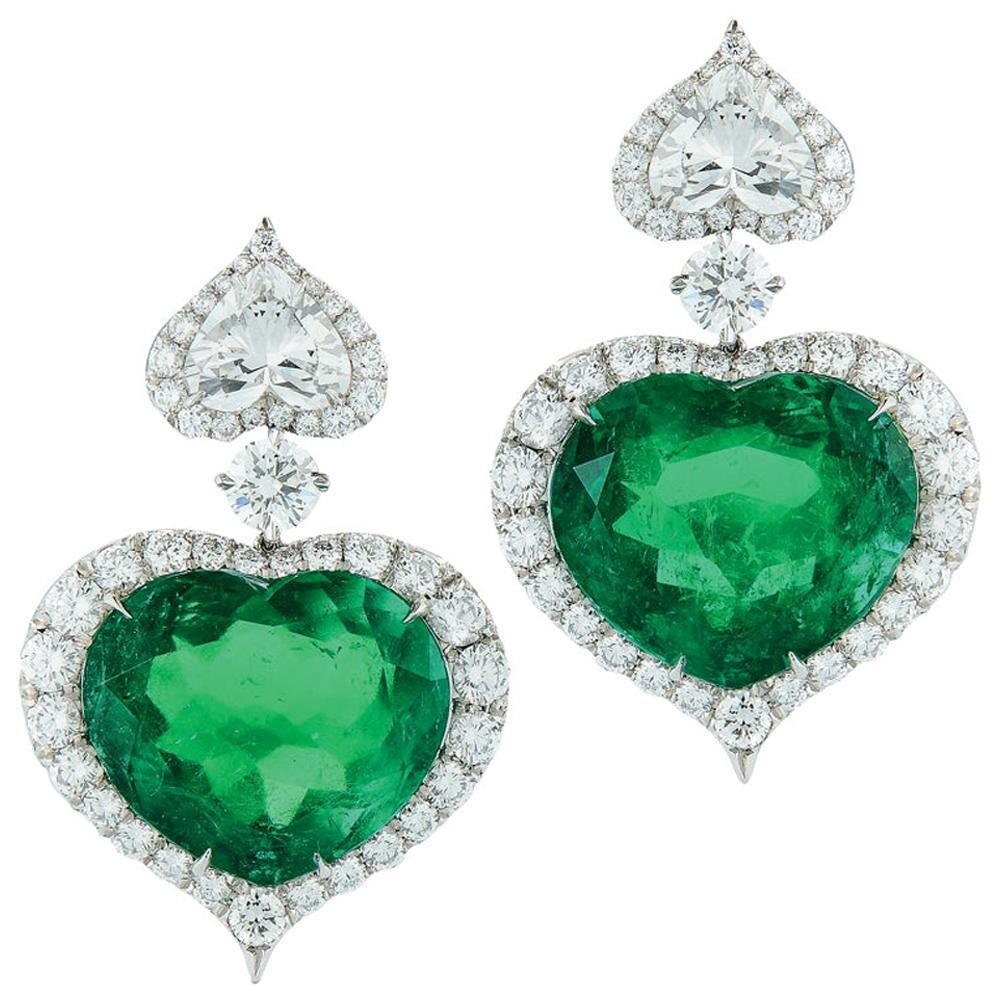 Gübelin GIA Certified Heart Shape Emerald Diamond Earrings