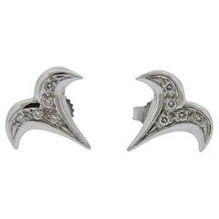 Gubelin Gold Diamond Aries Zodiac Sign Stud Earrings