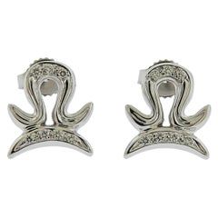 Gubelin Gold Diamond Libra Zodiac Sign Stud Earrings