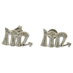 Gubelin Gold Diamond Scorpio Zodiac Sign Stud Earrings
