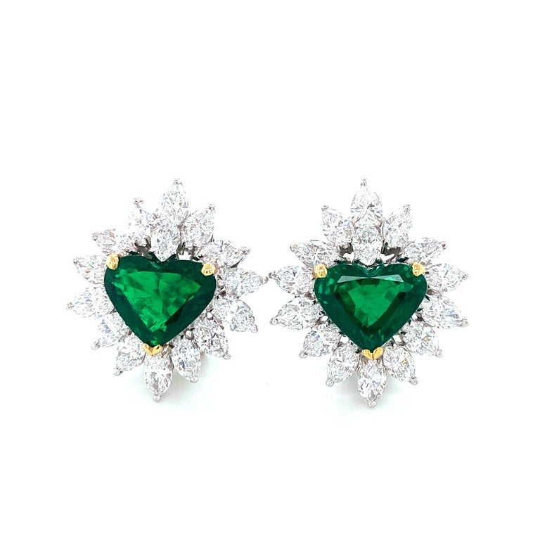 Gubelin Lab Certified Heart Shaped Emerald and Diamonds Ring and Earrings Set For Sale 6