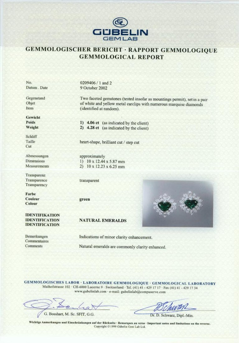Gubelin Lab Certified Heart Shaped Emerald and Diamonds Ring and Earrings Set For Sale 8