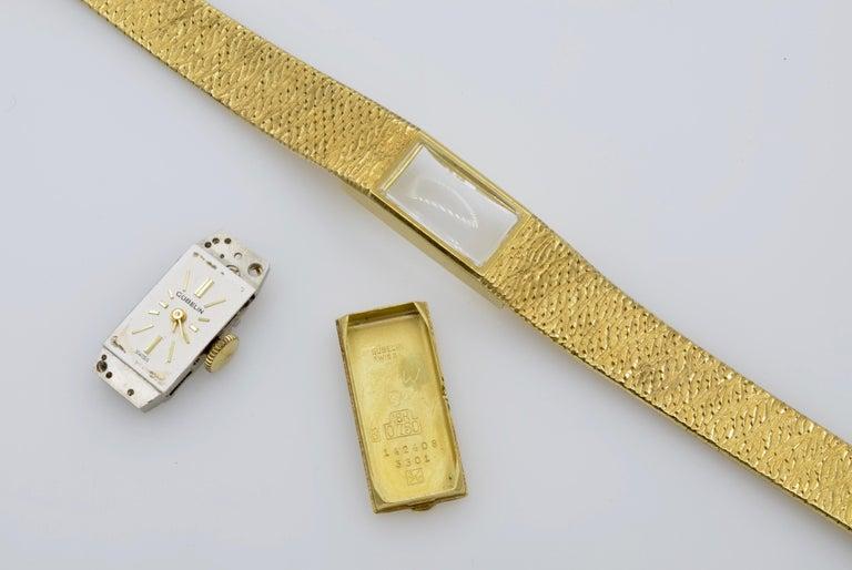 Gubelin Ladies 18 Karat Texture 1970s Swiss Watch Mechanical For Sale 5