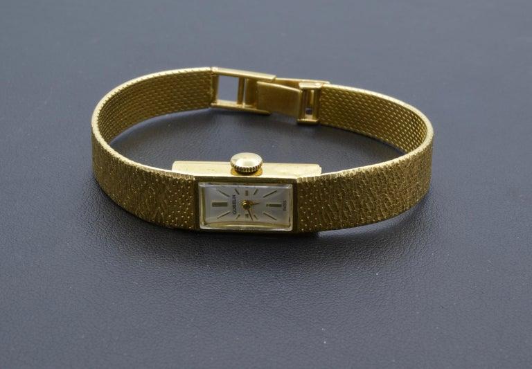 Gubelin Ladies 18 Karat Texture 1970s Swiss Watch Mechanical For Sale 8