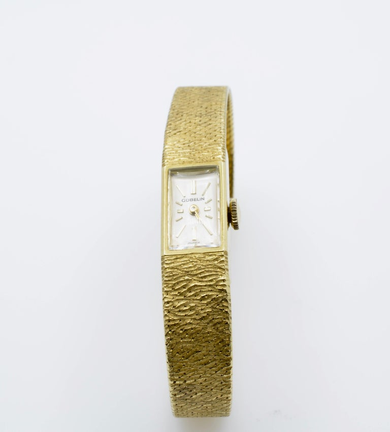 Modern Gubelin Ladies 18 Karat Texture 1970s Swiss Watch Mechanical For Sale