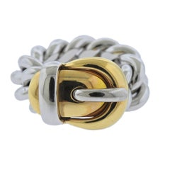 Gubelin Massive Gold Buckle Chain Ring
