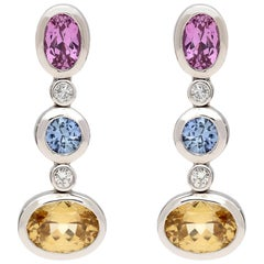 Gubelin Multi-Color Sapphire and Diamond Earrings
