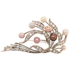 Gubelin Natural Pearls and Diamonds Brooch in 18 Karat White Gold