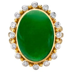 Gubelin Oval Type A Jadeite Jade and Diamond Ring