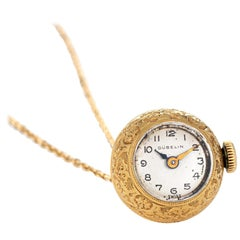 Gubelin Pendant Watch Vintage 18k Gold Etched Design Round Orb Necklace Jewelry