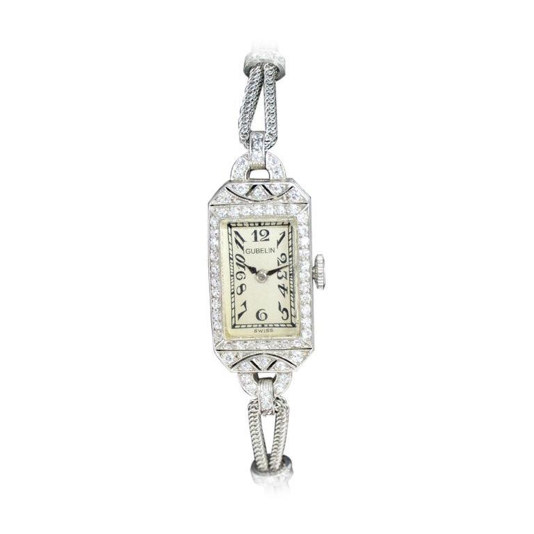 Gubelin Platinum and Diamond Art Deco Manual Winding Dress Watch, circa 1930s