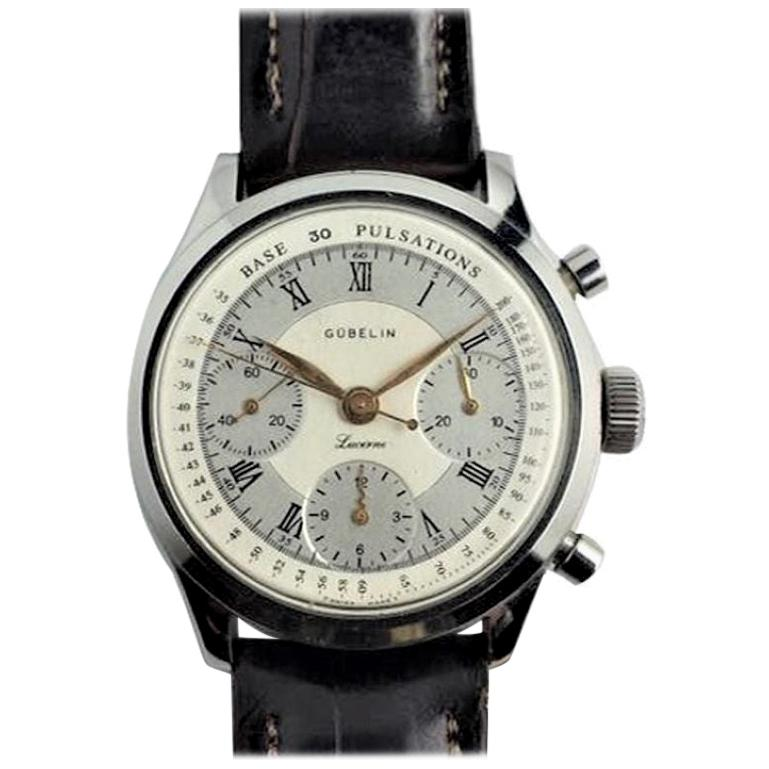 Gubelin Stainless Steel Valjoux 72 Chronograph Doctors Pulsation Watch, 1940s