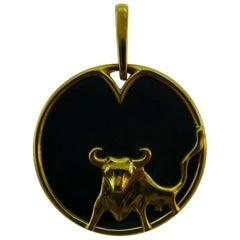 Gubelin Swiss 18k Yellow Gold and Hematite Taurus Zodiad Pendant Vintage & Rare