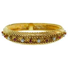 Gubelin Swiss & Georges Lenfant Paris 18k Yellow Gold, Ruby and Diamond Bracelet
