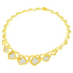 Gubelin, Swiss Modern Diamond-Set Gold Necklace