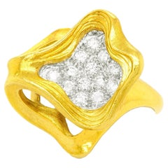 Gubelin Swiss Modern Diamond-Set Gold Ring