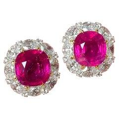 Gubelin Switzerland Certified 14 Carat Burma Ruby Diamond Halo Earrings