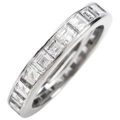Gubelin Vintage Square Diamond 18 Karat White Gold Eternity Band Ring