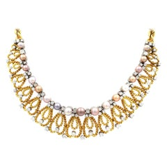 Gubelin Vintage 18 Karat Yellow Gold Pearls and Diamonds Necklace 2.50 Carat