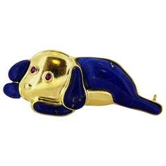 Gubelin Vintage 18k Gold Brooch in Shape of Dog with Natural Lapis Lazuli and Ru