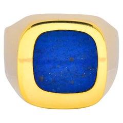 Gubelin Vintage Blue Lapis 18 Karat Gold Gents Men's Ring