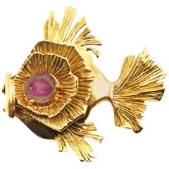 Gubelin Yellow Gold and Watermelon Tourmaline Exotic Fish Brooch