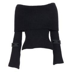 GUCCI 100% cashmere black foldover off shoulder web buckle cuff sweater XS