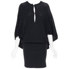 GUCCI 100% silk knitted kyehole front kimono batwing cape sleeve draped dress M