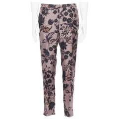 GUCCI 100%  silk purple floral print casual trousers IT50 R