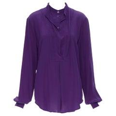 GUCCI 100% silk purple silver buckle dual collar long sleeve blouse shirt IT42
